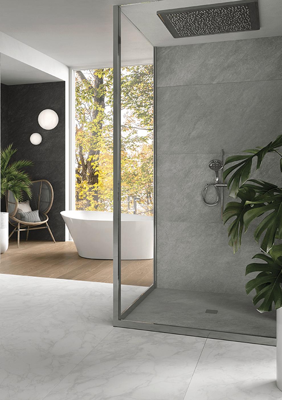 azulejos, saludables, baños, baño, duchas, regadera, Biofilia