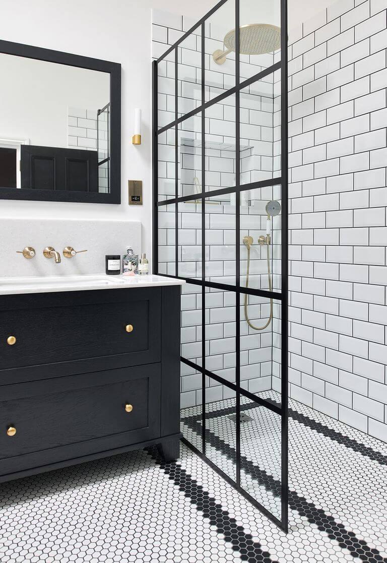 azulejos, saludables, baños, baño, duchas, regadera, clasico